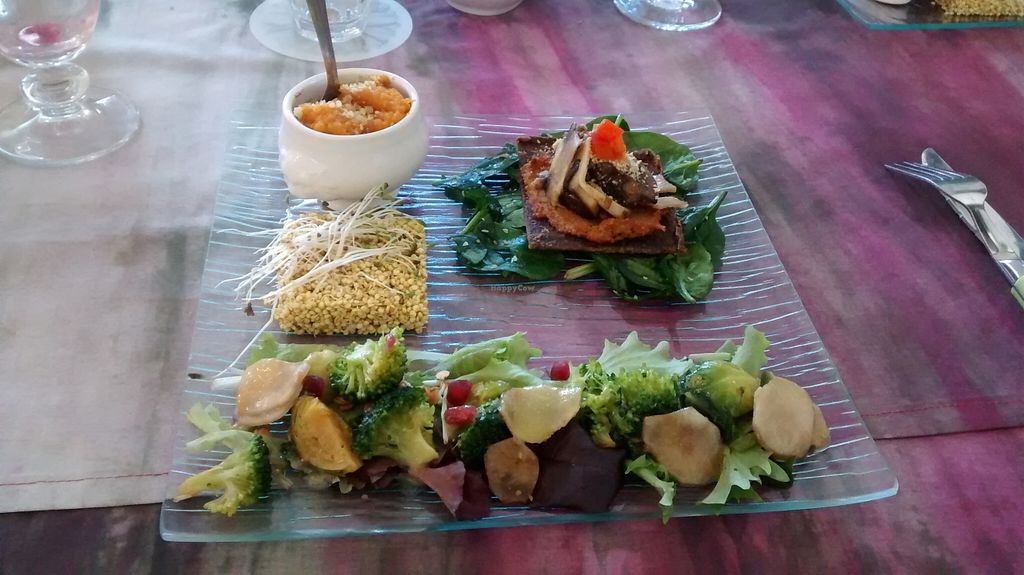 """Photo of Les Delices de Leilla  by <a href=""""/members/profile/JonJon"""">JonJon</a> <br/>Dish of the day: vegetables, raw quinoa, raw cheese and pie, etc <br/> February 14, 2016  - <a href='/contact/abuse/image/61851/136255'>Report</a>"""