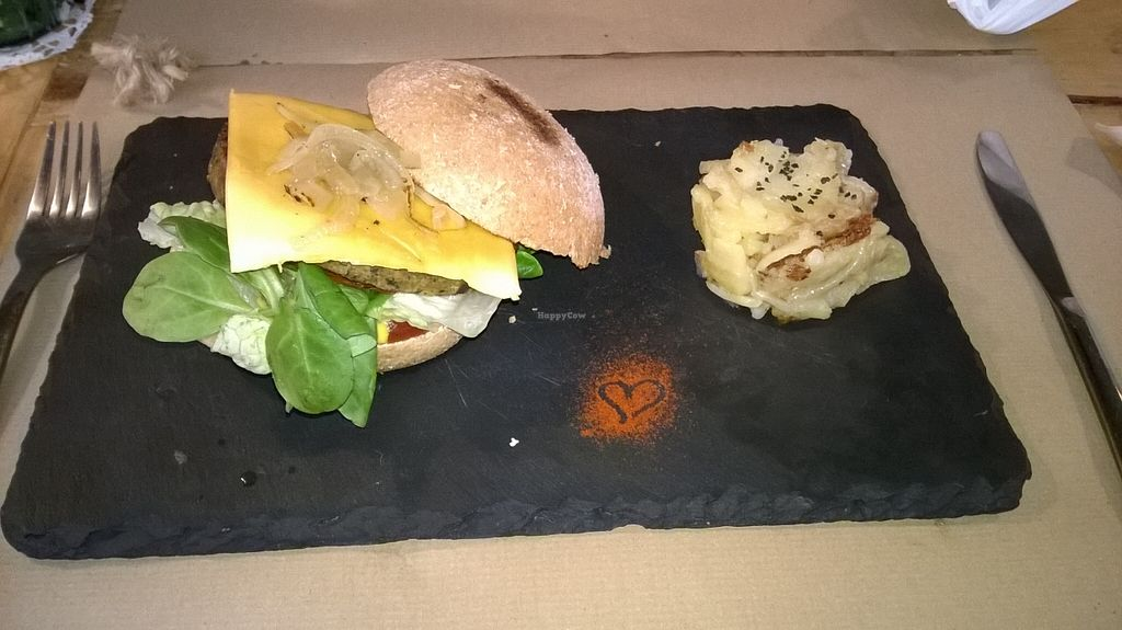 """Photo of La Libelula Vegan Cafe  by <a href=""""/members/profile/leopardyjeopardy"""">leopardyjeopardy</a> <br/>Vegan burger (with delicious cheese!) <br/> November 8, 2015  - <a href='/contact/abuse/image/61896/124343'>Report</a>"""