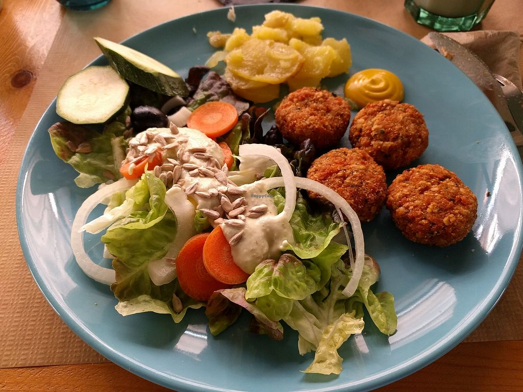 """Photo of La Libelula Vegan Cafe  by <a href=""""/members/profile/Ijon-Tichy"""">Ijon-Tichy</a> <br/>Vegan nuggets, potatoes and salad <br/> February 6, 2018  - <a href='/contact/abuse/image/61896/355735'>Report</a>"""