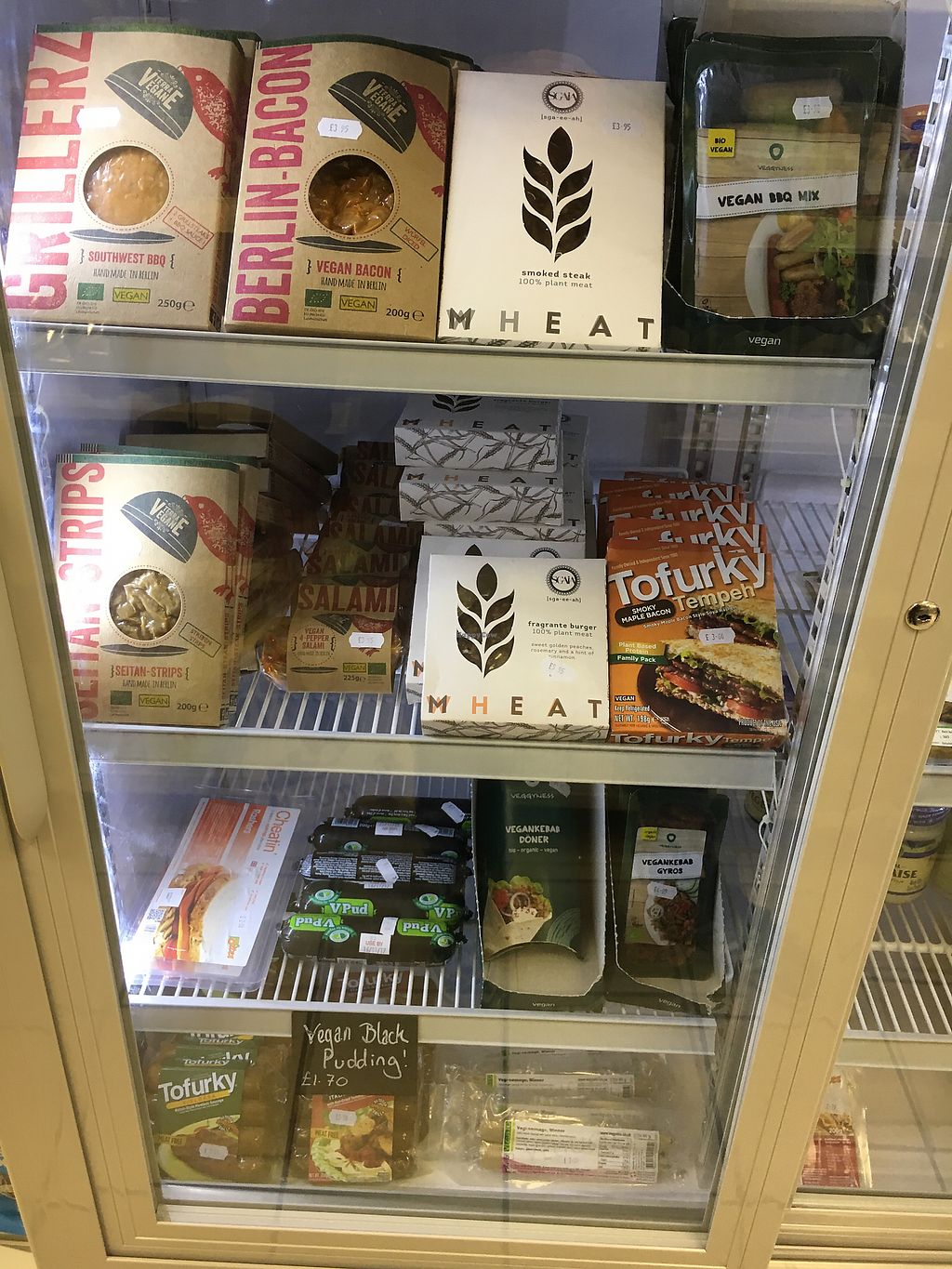 """Photo of Farplace Vegan Store  by <a href=""""/members/profile/hack_man"""">hack_man</a> <br/>Meat free meat fridge  <br/> September 30, 2017  - <a href='/contact/abuse/image/62070/310137'>Report</a>"""