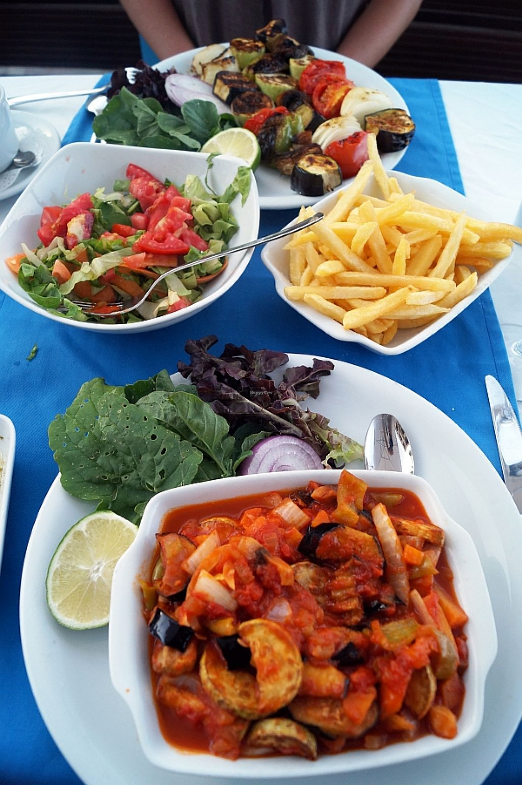 """Photo of Sandal  by <a href=""""/members/profile/danielpoland"""">danielpoland</a> <br/>Musaka without cheese, skewers and fries.  <br/> August 17, 2015  - <a href='/contact/abuse/image/62091/113932'>Report</a>"""