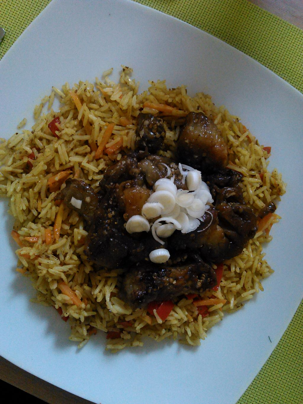 """Photo of BIOFresh  by <a href=""""/members/profile/alexandra_vegan"""">alexandra_vegan</a> <br/>Eggplant basmati rice. They changes the recipe and now they use strong spices. Not for everyone. May contain honey (ask the waiter) <br/> March 7, 2016  - <a href='/contact/abuse/image/62092/139216'>Report</a>"""