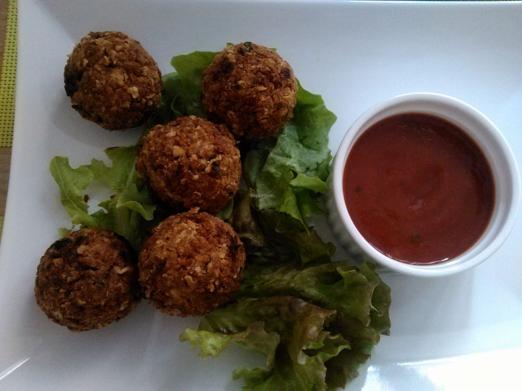 """Photo of BIOFresh  by <a href=""""/members/profile/alexandra_vegan"""">alexandra_vegan</a> <br/>Best vegan meatballs in town: tofu meatballs with spicy tomato sauce <br/> March 7, 2016  - <a href='/contact/abuse/image/62092/179530'>Report</a>"""