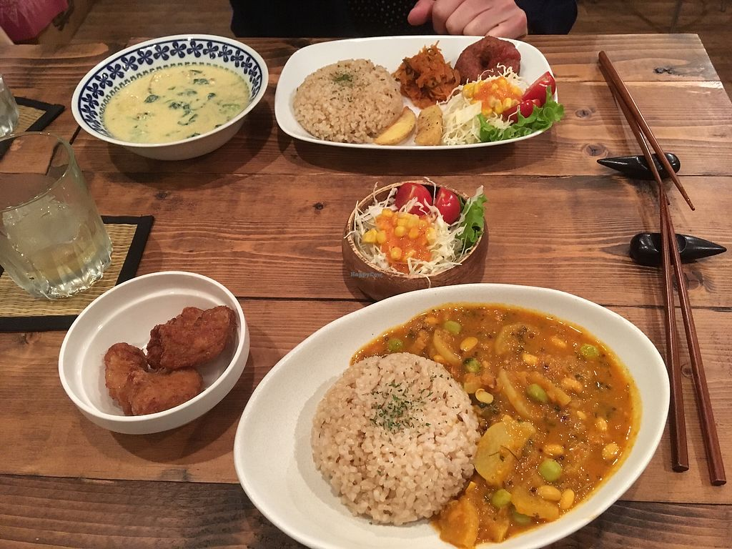 """Photo of VegReca  by <a href=""""/members/profile/VeggiePolly"""">VeggiePolly</a> <br/>White spinach curry set meal, with soy karaage on the side and a beans and radish curry <br/> April 14, 2018  - <a href='/contact/abuse/image/62110/385775'>Report</a>"""