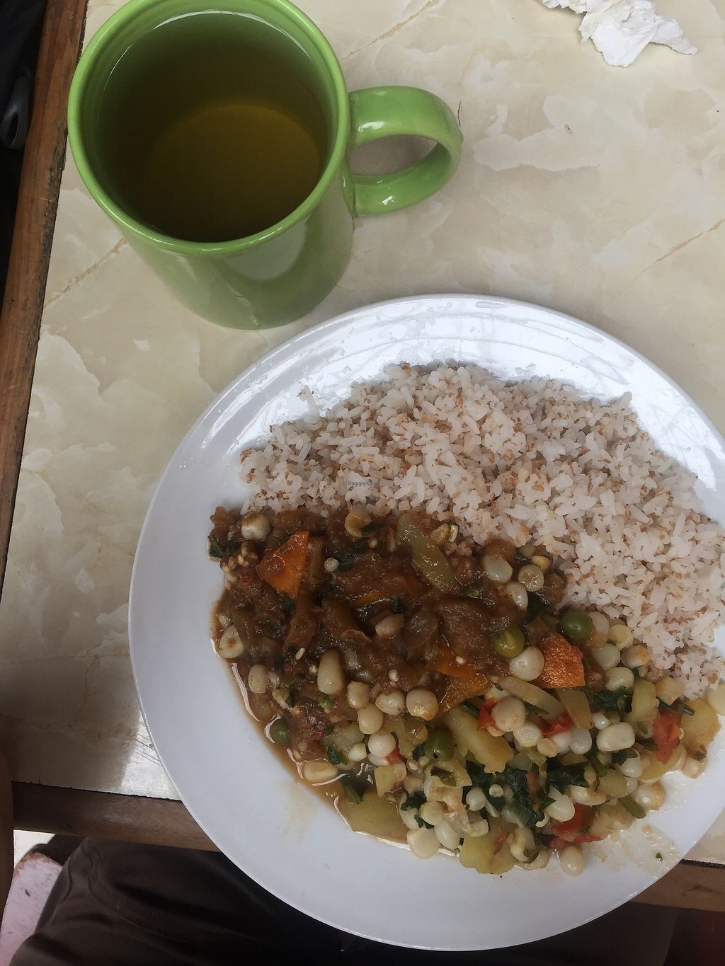 "Photo of Comedor Vegetariano  by <a href=""/members/profile/joegelay"">joegelay</a> <br/>Tea and main plate with mixed veggies, ""meaty"" celery, and barley rice.  <br/> January 17, 2018  - <a href='/contact/abuse/image/62120/347642'>Report</a>"