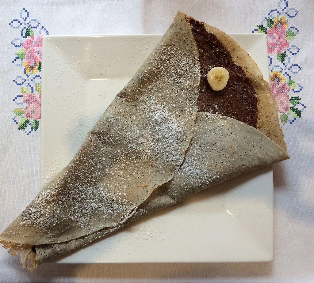"""Photo of Bio Cafe Baumgarten  by <a href=""""/members/profile/Carissima"""">Carissima</a> <br/>Buckwheat crepe with vegan chocolate-hazelnut spread and sliced banana  <br/> October 28, 2017  - <a href='/contact/abuse/image/62147/319492'>Report</a>"""