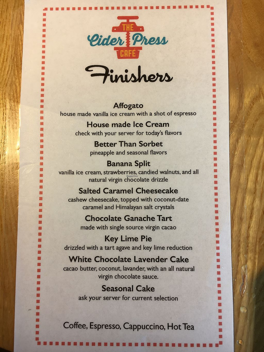 """Photo of The Cider Press Cafe   by <a href=""""/members/profile/KWdaddio"""">KWdaddio</a> <br/>Dessert Menu <br/> September 20, 2017  - <a href='/contact/abuse/image/62213/306616'>Report</a>"""