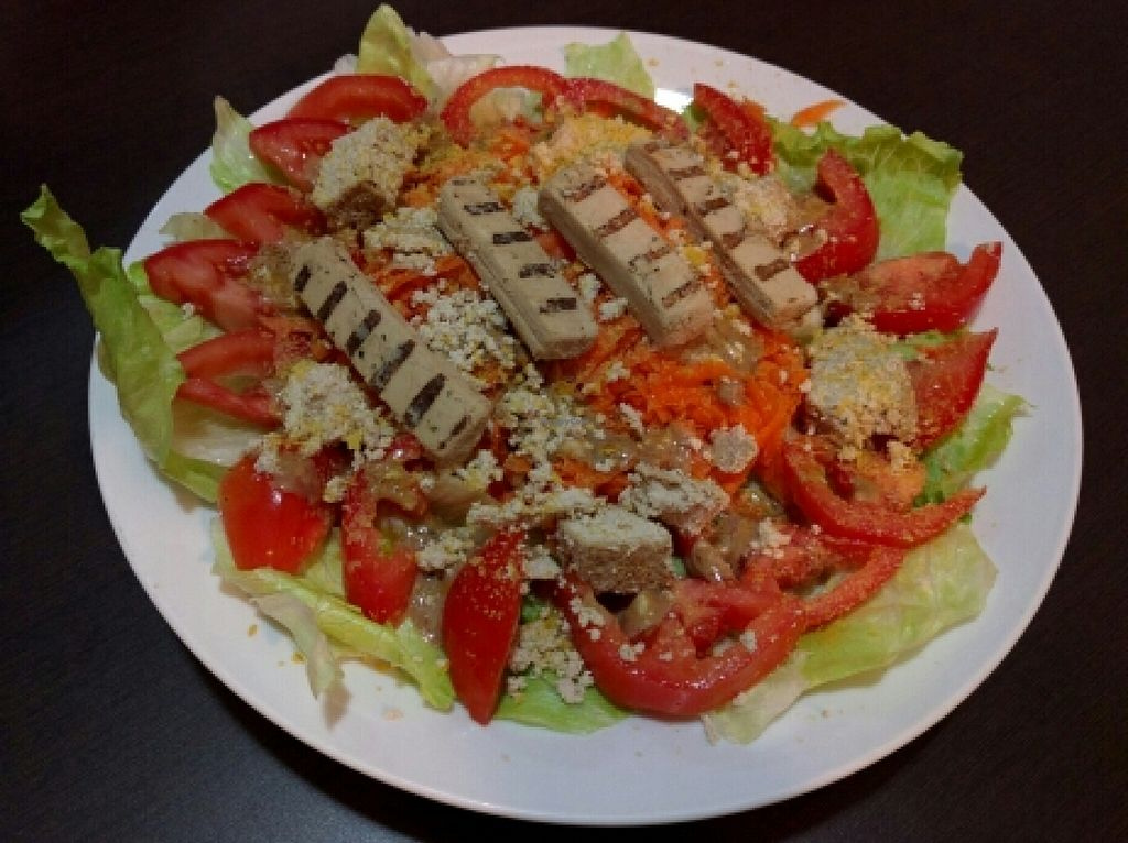 """Photo of The Vegan Factory  by <a href=""""/members/profile/swissglobetrotter"""">swissglobetrotter</a> <br/>Enjoying the BEYOND CHICKEN bought at The Vegan Factory on my salad <br/> February 16, 2016  - <a href='/contact/abuse/image/62240/136657'>Report</a>"""
