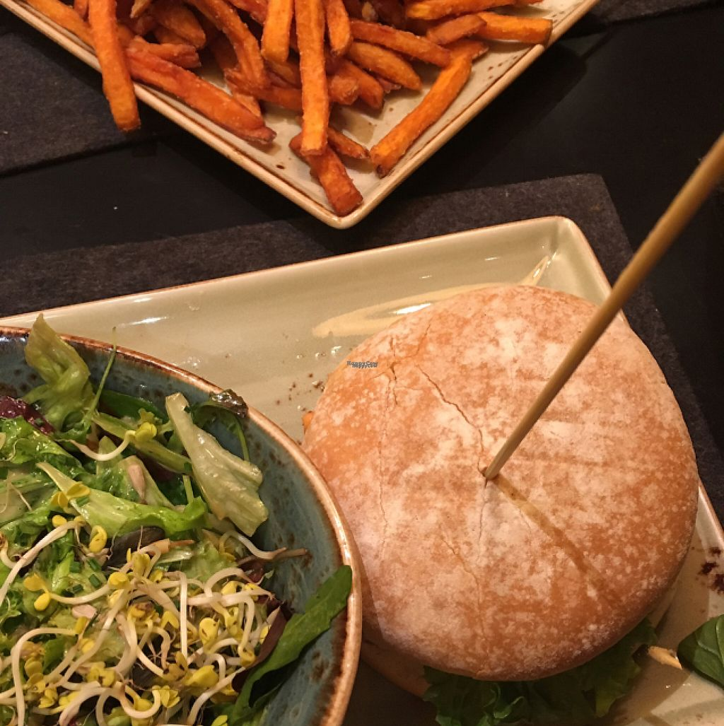 """Photo of Hans im Glück  by <a href=""""/members/profile/hokusai77"""">hokusai77</a> <br/>wheat burger, salad, and seeet potato chips <br/> December 24, 2016  - <a href='/contact/abuse/image/62269/204484'>Report</a>"""