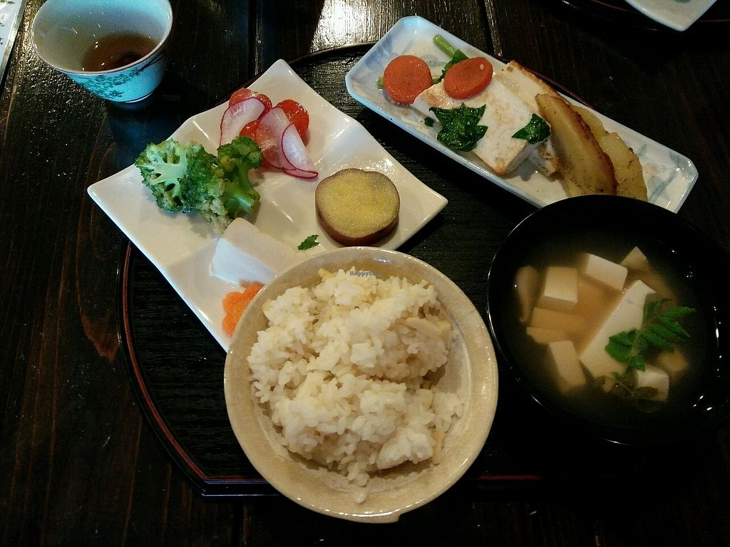 """Photo of Sakura Saku  by <a href=""""/members/profile/fatmeercat"""">fatmeercat</a> <br/>Tofu set lunch - bamboo shoot rice, miso soup, sweet potato, sauted vegetables, tofu steak and grilled potato, marinated tofu, pickled radish. Filling and yum!! <br/> April 12, 2018  - <a href='/contact/abuse/image/62301/384472'>Report</a>"""