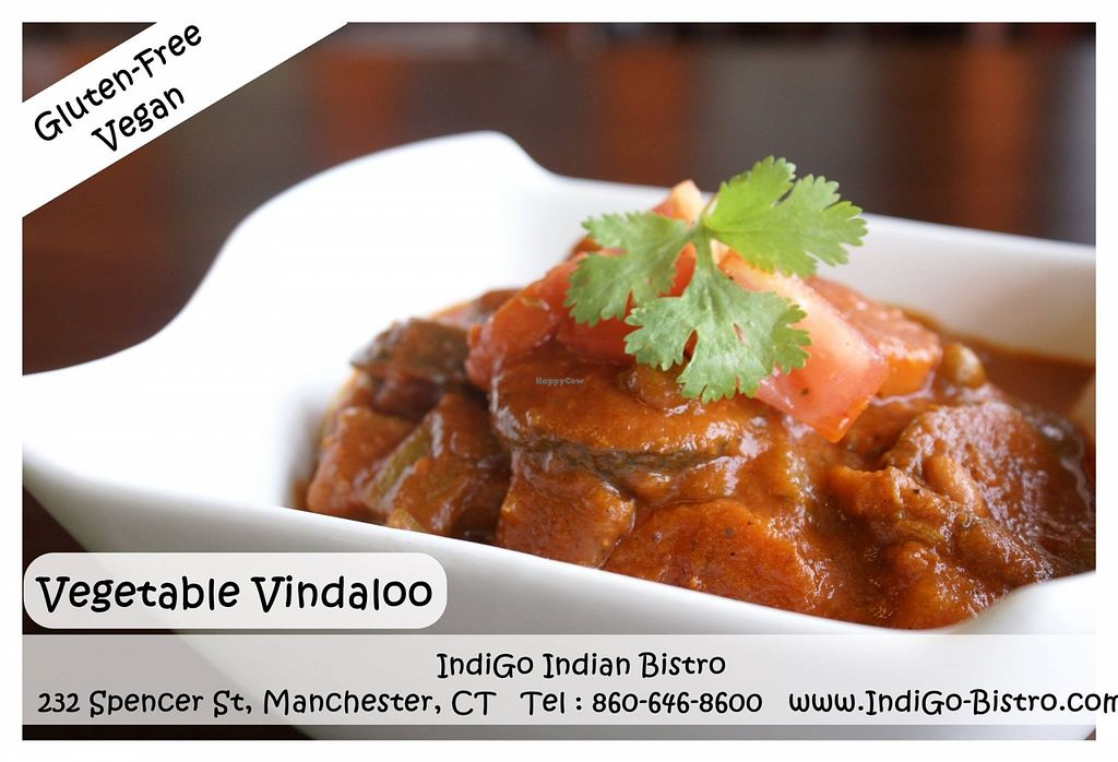 """Photo of IndiGo Indian Bistro  by <a href=""""/members/profile/IndiGoManchester"""">IndiGoManchester</a> <br/>Vegetable Vindaloo (Gluten-Free, Vegan) @ IndiGO Indian Bistro - Manchester CT Mixed vegetable cooked in tangy tomato & red chili sauce (spicy) <br/> August 22, 2015  - <a href='/contact/abuse/image/62342/114685'>Report</a>"""
