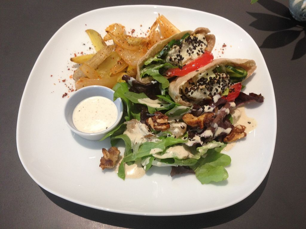 """Photo of MuYe - Mottainai Plant-Based Whole Food Cafe  by <a href=""""/members/profile/Lizjm"""">Lizjm</a> <br/>Falafel pita and salad (vegan) <br/> January 9, 2018  - <a href='/contact/abuse/image/62356/344683'>Report</a>"""