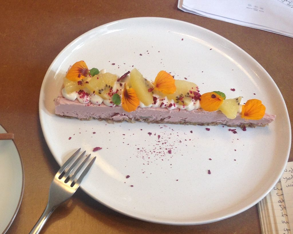 """Photo of MuYe - Mottainai Plant-Based Whole Food Cafe  by <a href=""""/members/profile/Lizjm"""">Lizjm</a> <br/>Cheesecake  <br/> February 1, 2018  - <a href='/contact/abuse/image/62356/353431'>Report</a>"""