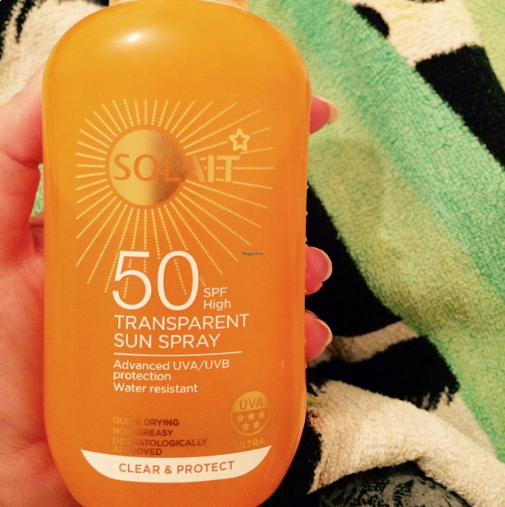 "Photo of Superdrug   by <a href=""/members/profile/CiaraSlevin"">CiaraSlevin</a> <br/>Superdrug own brand sun spray - suitable for vegetarians & vegans, also Leaping Bunny certified  <br/> August 22, 2015  - <a href='/contact/abuse/image/62364/114710'>Report</a>"