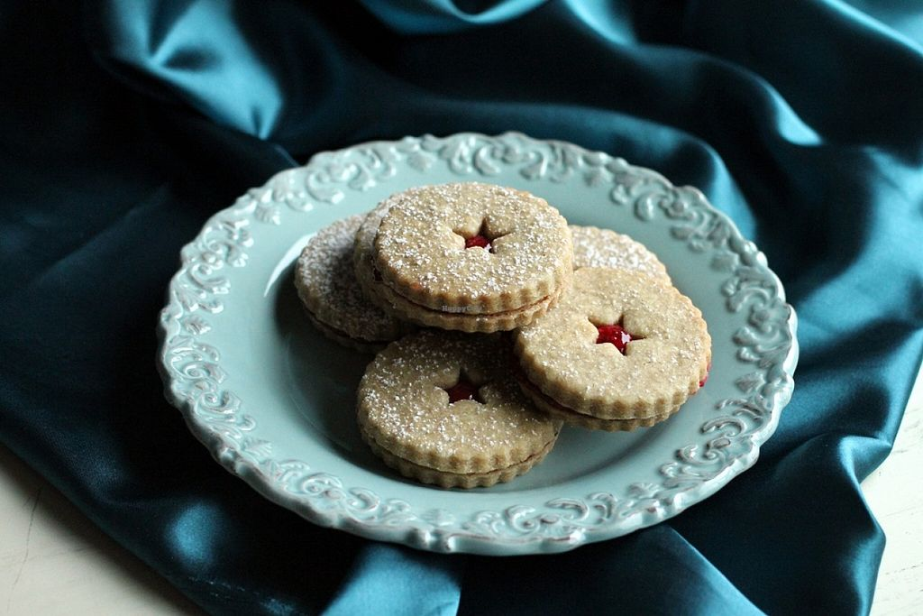 """Photo of Two Daughters Bakeshop  by <a href=""""/members/profile/vegancookbookaddict"""">vegancookbookaddict</a> <br/>Raspberry filled linzer cookies <br/> December 19, 2015  - <a href='/contact/abuse/image/62376/129146'>Report</a>"""