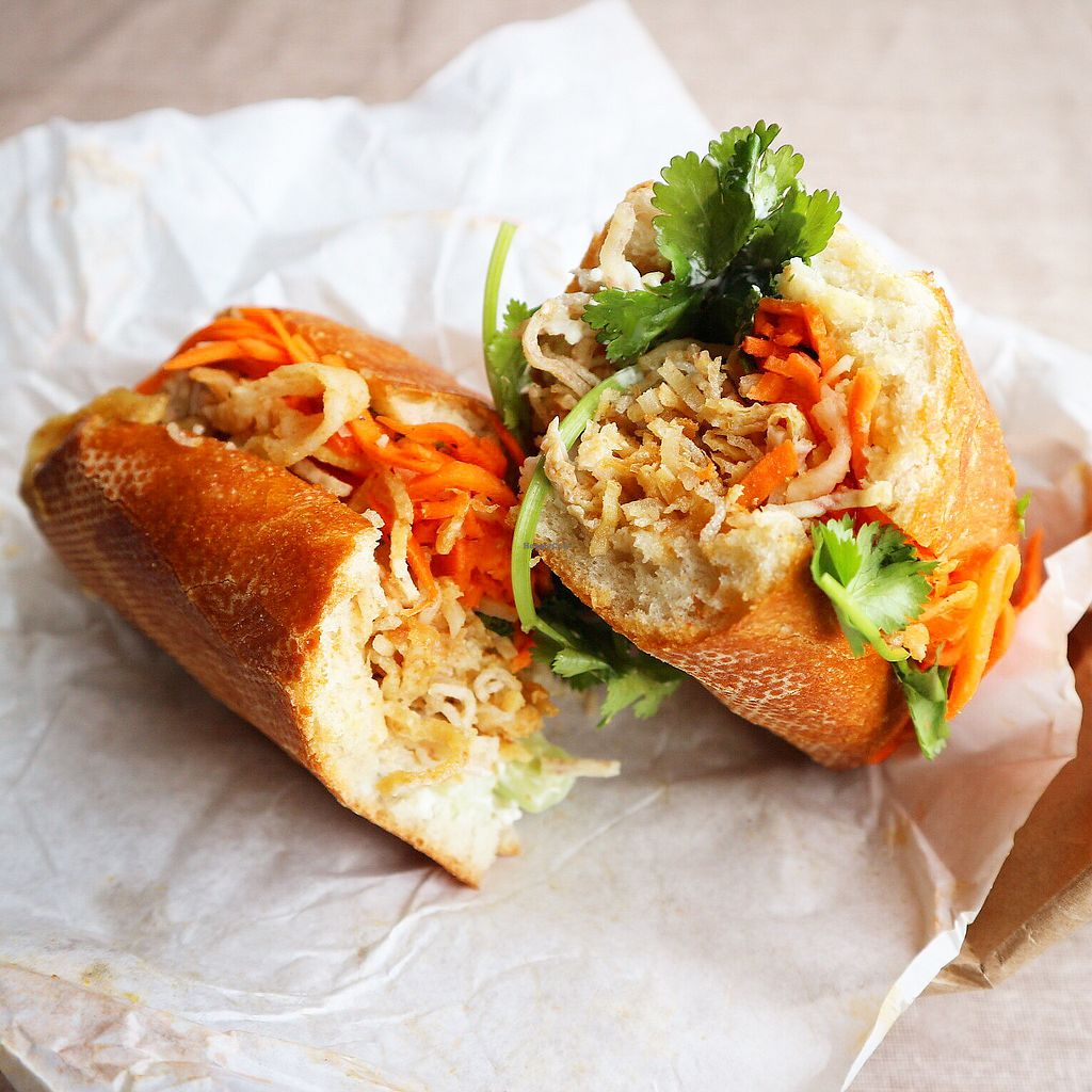 """Photo of Dinosaurs - Market St  by <a href=""""/members/profile/whollyvegan"""">whollyvegan</a> <br/>Crispy tofu banh mi with vegenaise. Delicious! <br/> February 6, 2018  - <a href='/contact/abuse/image/62378/355801'>Report</a>"""