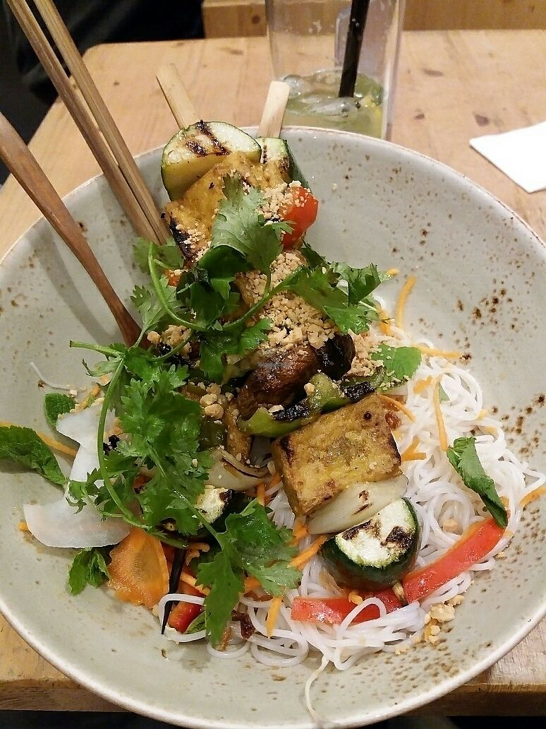 """Photo of Memoires d'Indochine  by <a href=""""/members/profile/Giniimaus"""">Giniimaus</a> <br/>vegan tofu skewers on rice noodles  <br/> August 12, 2017  - <a href='/contact/abuse/image/62401/292013'>Report</a>"""