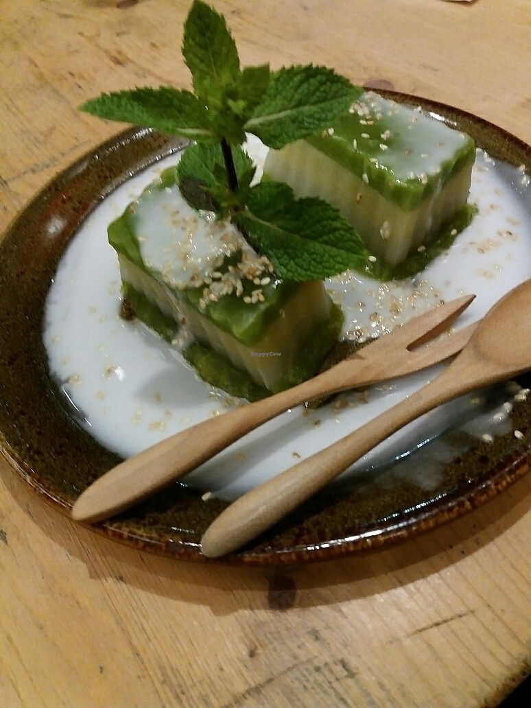 """Photo of Memoires d'Indochine  by <a href=""""/members/profile/Giniimaus"""">Giniimaus</a> <br/>vegan steamed tapioca pandan dessert  <br/> August 12, 2017  - <a href='/contact/abuse/image/62401/292014'>Report</a>"""