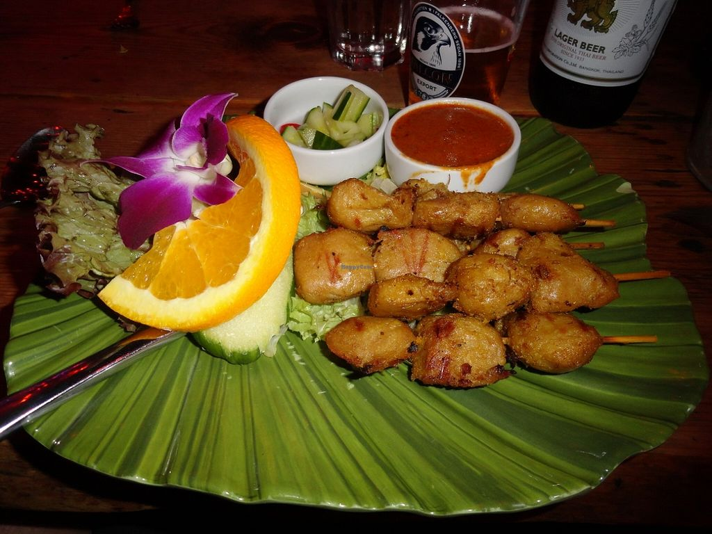 """Photo of Koh Phangan Restaurant  by <a href=""""/members/profile/JonJon"""">JonJon</a> <br/>Soya skewers with a peanut sauce <br/> August 24, 2015  - <a href='/contact/abuse/image/62452/115082'>Report</a>"""
