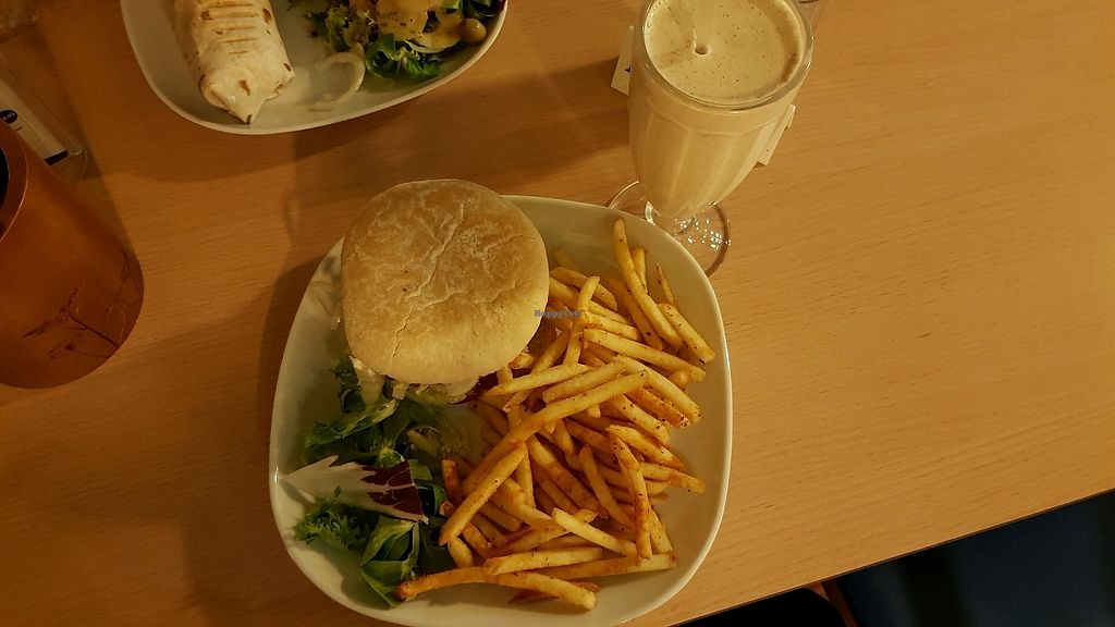"""Photo of Old School Vegetarian Restaurant  by <a href=""""/members/profile/jollypig"""">jollypig</a> <br/>Burger, chips & almond milkshake <br/> March 22, 2018  - <a href='/contact/abuse/image/62483/374588'>Report</a>"""