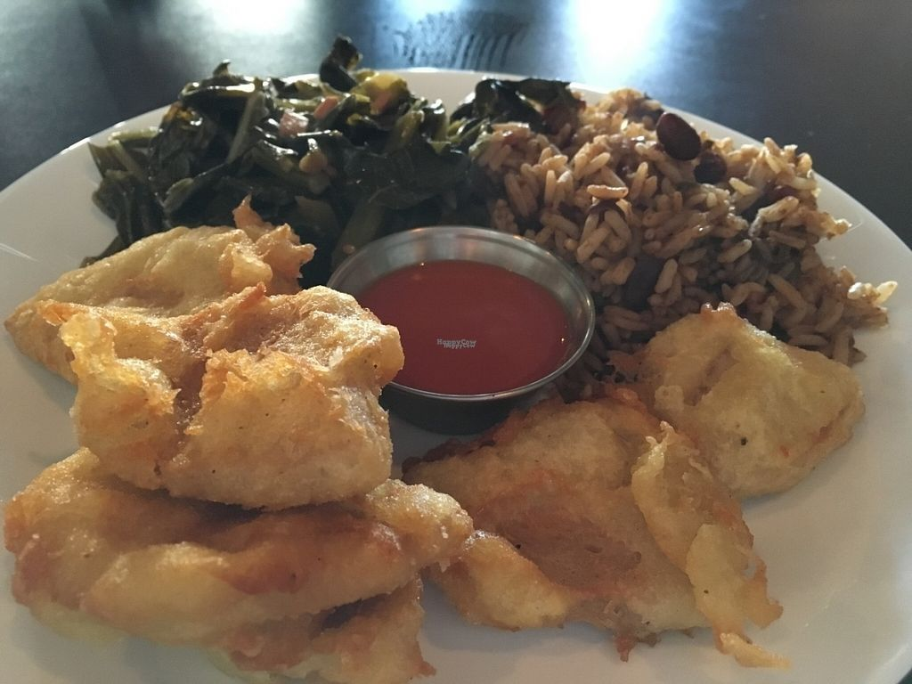 """Photo of The Nile  by <a href=""""/members/profile/Tigra220"""">Tigra220</a> <br/>Red Beans & Rice, Collard Greens and """"Fried Chicken"""" - from Soul Food Saturdays <br/> August 29, 2016  - <a href='/contact/abuse/image/62555/172072'>Report</a>"""