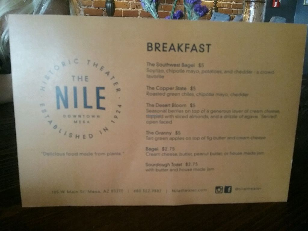 """Photo of The Nile  by <a href=""""/members/profile/MightyVegMama"""">MightyVegMama</a> <br/>Breakfast menu <br/> January 17, 2018  - <a href='/contact/abuse/image/62555/347430'>Report</a>"""