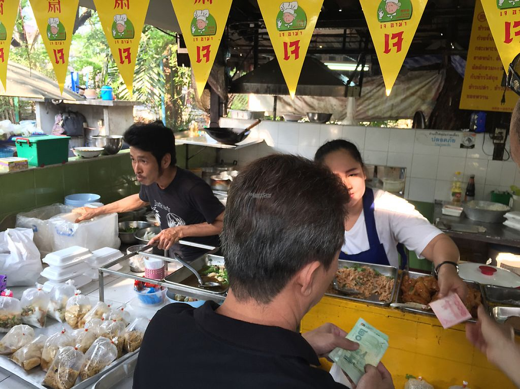 "Photo of Lumpini Park Morning Market Stall  by <a href=""/members/profile/MyVeganJoy"">MyVeganJoy</a> <br/>look for Yellow Flags with what looks like 17 <br/> December 13, 2016  - <a href='/contact/abuse/image/6259/200692'>Report</a>"