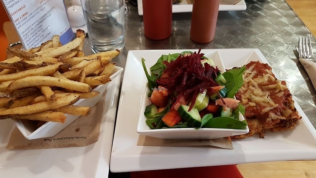 "Photo of Cosmic Treats  by <a href=""/members/profile/Kbee"">Kbee</a> <br/>Veggie Lasagna with salad and fries <br/> May 14, 2017  - <a href='/contact/abuse/image/62637/258762'>Report</a>"