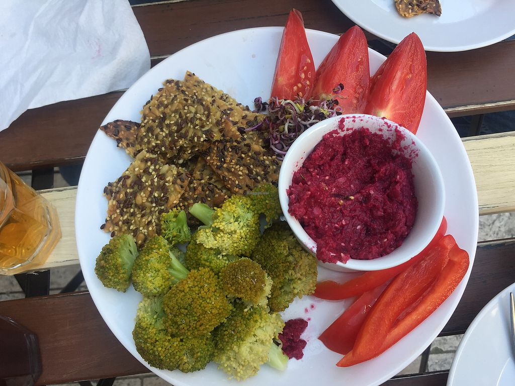 "Photo of CLOSED: CsendesM Vegan Bistro  by <a href=""/members/profile/GinaMartins"">GinaMartins</a> <br/>hummus plate made with beets <br/> August 15, 2017  - <a href='/contact/abuse/image/62674/292904'>Report</a>"