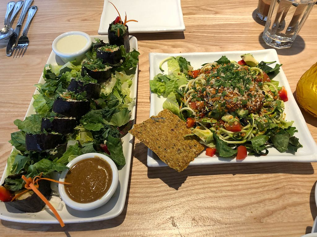 """Photo of Omar's Rawtopia  by <a href=""""/members/profile/TinaD"""">TinaD</a> <br/>Seaweed Hummus roll & zucchini pasta <br/> February 25, 2018  - <a href='/contact/abuse/image/6268/363779'>Report</a>"""