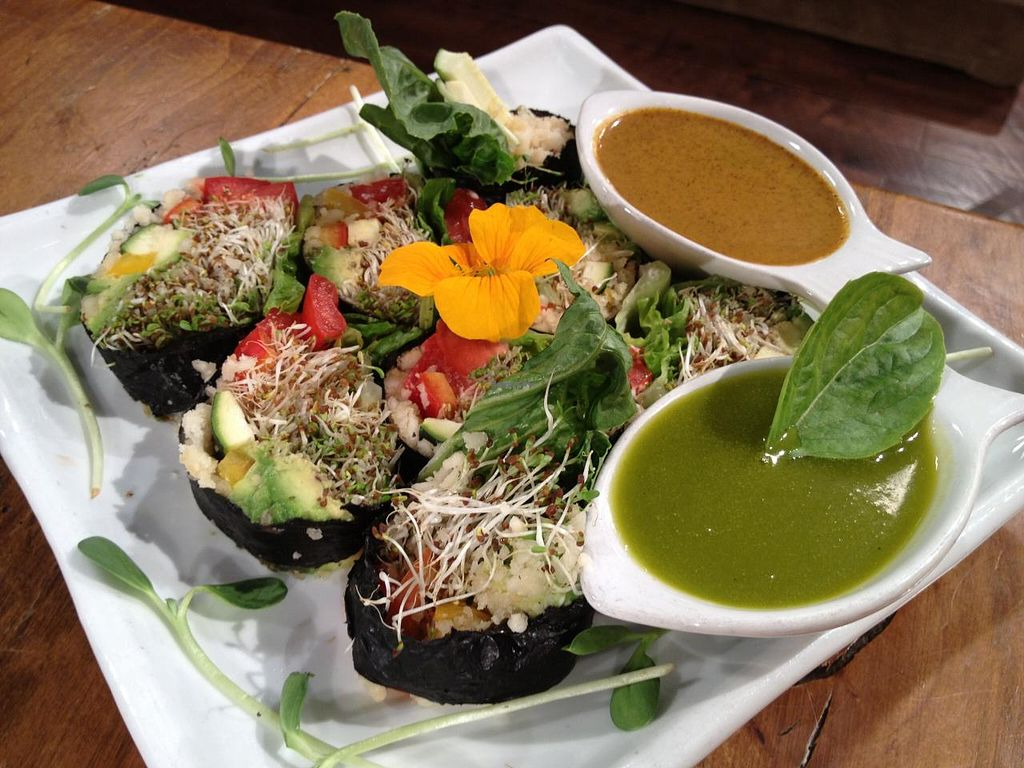 """Photo of Omar's Rawtopia  by <a href=""""/members/profile/omarsrawtopia"""">omarsrawtopia</a> <br/>Seaweed Roll w/ curry and sweet basil sauce <br/> February 6, 2014  - <a href='/contact/abuse/image/6268/63823'>Report</a>"""