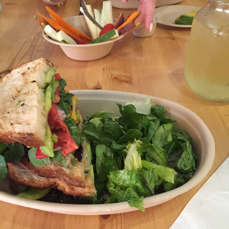 """Photo of CLOSED: Health's Kitchen  by <a href=""""/members/profile/tburgese"""">tburgese</a> <br/>veggie sandwich, coconut green tea, season sliced dipping vegetables <br/> August 31, 2016  - <a href='/contact/abuse/image/62724/172555'>Report</a>"""