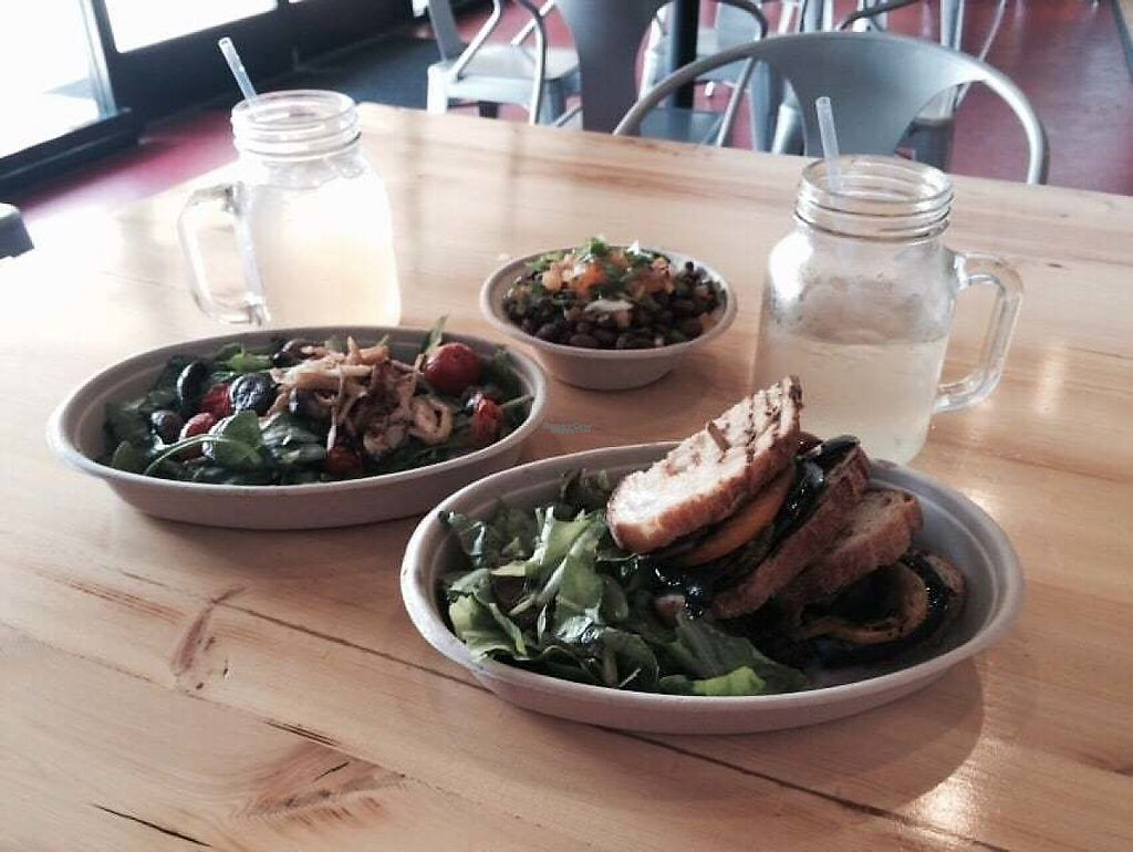 """Photo of CLOSED: Health's Kitchen  by <a href=""""/members/profile/debbitage"""">debbitage</a> <br/>Health's Kitchen veggie sandwich, warm salad, and beans & rice with coconut green tea and lavender lemonade.  <br/> March 25, 2017  - <a href='/contact/abuse/image/62724/240773'>Report</a>"""