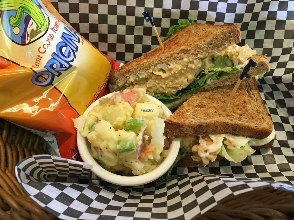 """Photo of Lovin' Spoonfuls  by <a href=""""/members/profile/Tigra220"""">Tigra220</a> <br/>Vegan Tuna Salad Sandwich meal (came with both sides) <br/> August 7, 2016  - <a href='/contact/abuse/image/6272/166525'>Report</a>"""
