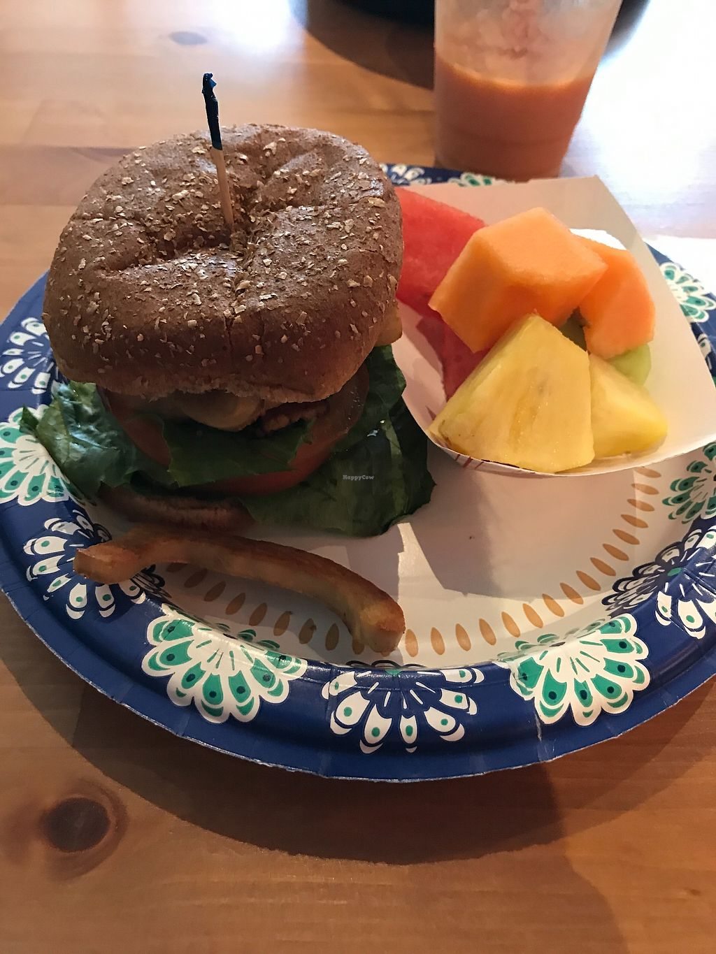 """Photo of DrinkabiliTea Cafe  by <a href=""""/members/profile/dragonflytotem"""">dragonflytotem</a> <br/>Tempeh BLT with fruit side <br/> September 10, 2017  - <a href='/contact/abuse/image/62758/303065'>Report</a>"""