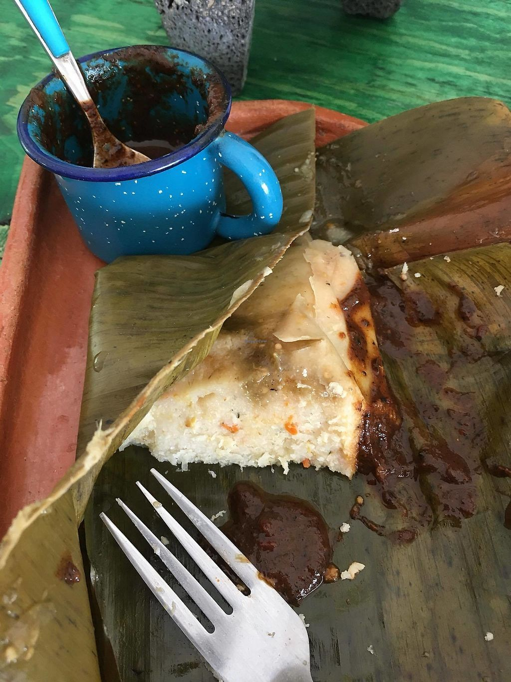 "Photo of Suculenta  by <a href=""/members/profile/CarolinaGirl"">CarolinaGirl</a> <br/>Vegan corn & carrot tamale with chocolate mole sauce <br/> February 13, 2018  - <a href='/contact/abuse/image/62802/358627'>Report</a>"