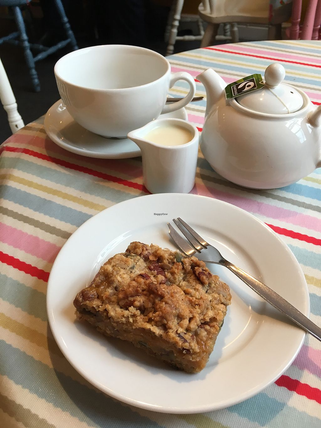 """Photo of CLOSED: Word of Mouth  by <a href=""""/members/profile/Spaghetti_monster"""">Spaghetti_monster</a> <br/>vegan plum and pecan slice and a pot of tea with soy milk <br/> August 18, 2017  - <a href='/contact/abuse/image/62924/293964'>Report</a>"""