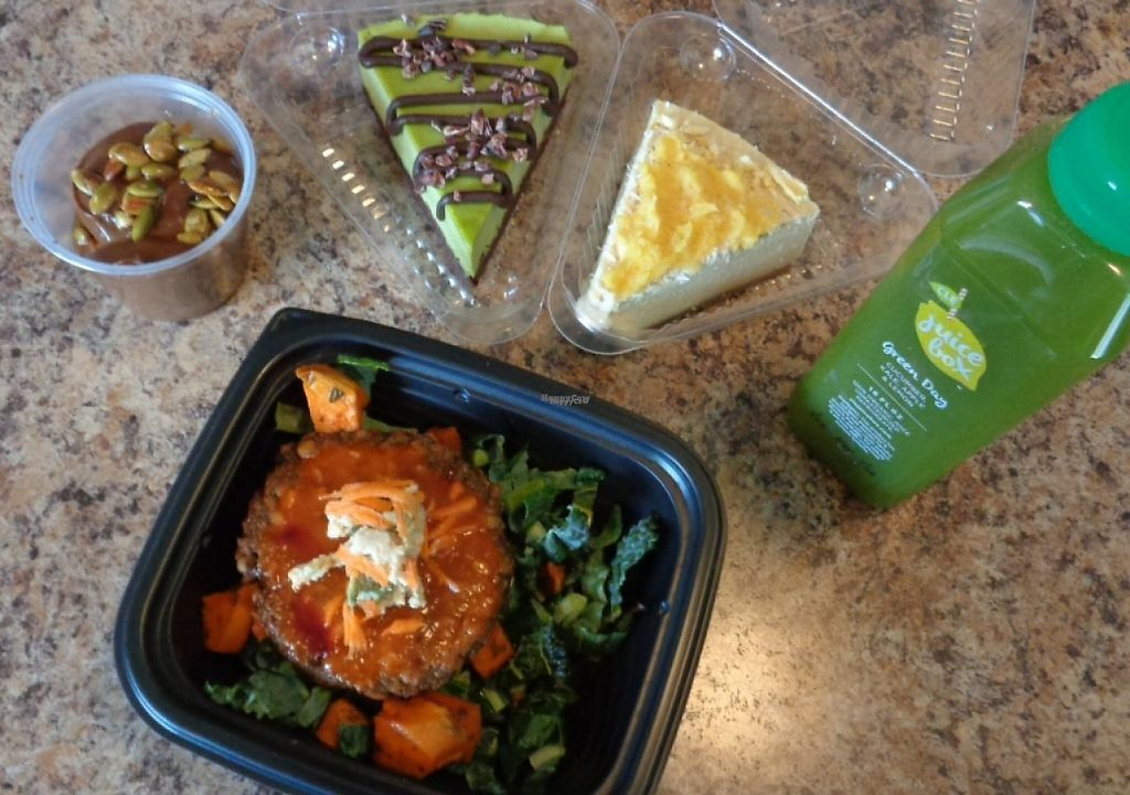 """Photo of CLE Juice Box  by <a href=""""/members/profile/GeaugaVegan"""">GeaugaVegan</a> <br/>Vegan food haul from CLE Juice Box. Pina colada and choco mint cheez cakes, choco avocado pudding, blue cheez mushroom patty, juice. (Bring a cooler and freeze packs for the cheez cakes if taking them home so they don't melt in the this heat.) <br/> August 24, 2016  - <a href='/contact/abuse/image/62945/216993'>Report</a>"""