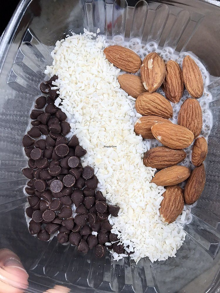 """Photo of CLE Juice Box  by <a href=""""/members/profile/nlevine94"""">nlevine94</a> <br/>Almond Joy Chia Pudding, with almond, coconut, dark chocolate chips, and chai pudding. Delicious! <br/> November 11, 2017  - <a href='/contact/abuse/image/62945/324292'>Report</a>"""