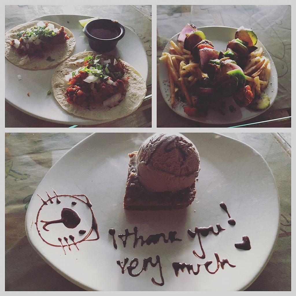 """Photo of La Ruta Vegana  by <a href=""""/members/profile/joevegan"""">joevegan</a> <br/>tacos, seitan scewers and brownie with chocolate icecream <br/> October 18, 2017  - <a href='/contact/abuse/image/62952/316478'>Report</a>"""