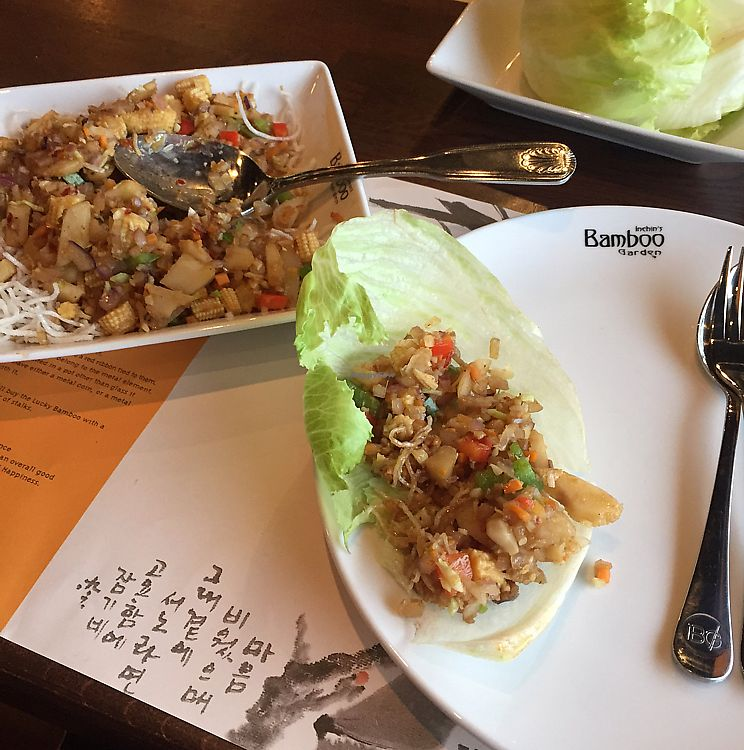 """Photo of Inchin's Bamboo Garden  by <a href=""""/members/profile/StarshineM"""">StarshineM</a> <br/>Lettuce Wraps <br/> September 1, 2017  - <a href='/contact/abuse/image/62974/299815'>Report</a>"""
