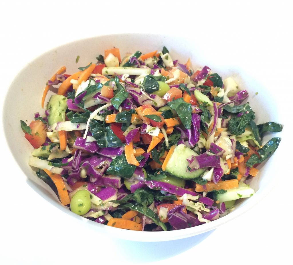 "Photo of Oki Momo  by <a href=""/members/profile/JoyceT"">JoyceT</a> <br/>Veggie Chop Salad - Hearty blend of cabbage, kale, cucumber, carrots, red pepper, and edamame tossed in a Thai peanut, lime, and cilantro dressing <br/> September 9, 2015  - <a href='/contact/abuse/image/62979/117131'>Report</a>"