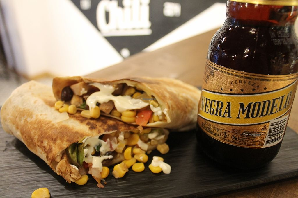 """Photo of CLOSED: Black Chili  by <a href=""""/members/profile/lerio78"""">lerio78</a> <br/>Burrito and Negra Modelo!! <br/> October 6, 2015  - <a href='/contact/abuse/image/63005/120449'>Report</a>"""
