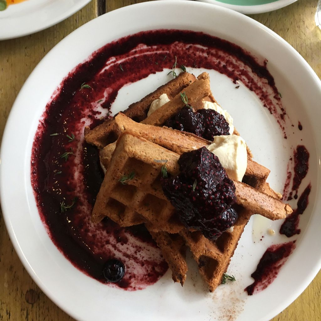 """Photo of Southsea Coffee - Admiral Square   by <a href=""""/members/profile/easypeeler"""">easypeeler</a> <br/>vegan waffles <br/> January 6, 2017  - <a href='/contact/abuse/image/63031/208781'>Report</a>"""