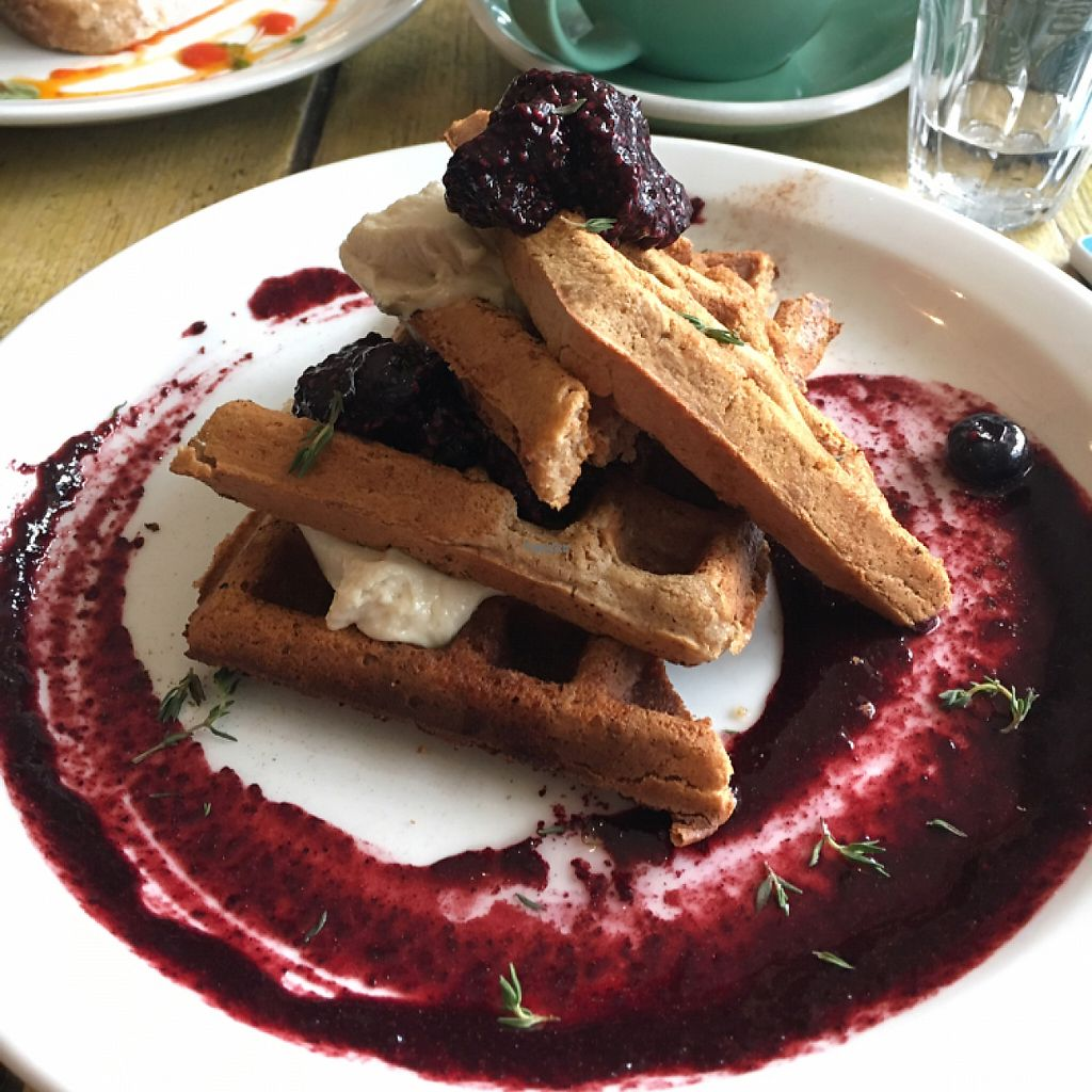 """Photo of Southsea Coffee - Admiral Square   by <a href=""""/members/profile/easypeeler"""">easypeeler</a> <br/>vegan waffles <br/> January 6, 2017  - <a href='/contact/abuse/image/63031/208782'>Report</a>"""