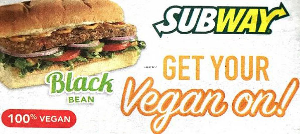 """Photo of Subway  by <a href=""""/members/profile/Veggi%2ALover"""">Veggi*Lover</a> <br/>The protein-packed Black Bean patty contains brown rice, corn, bell peppers, cilantro, and garlic, and is topped with a vegan """"sweet potato curry sauce."""" Order on Subway's vegan Italian bread, and as always, you can customize it with more veggi <br/> September 12, 2015  - <a href='/contact/abuse/image/63042/117436'>Report</a>"""