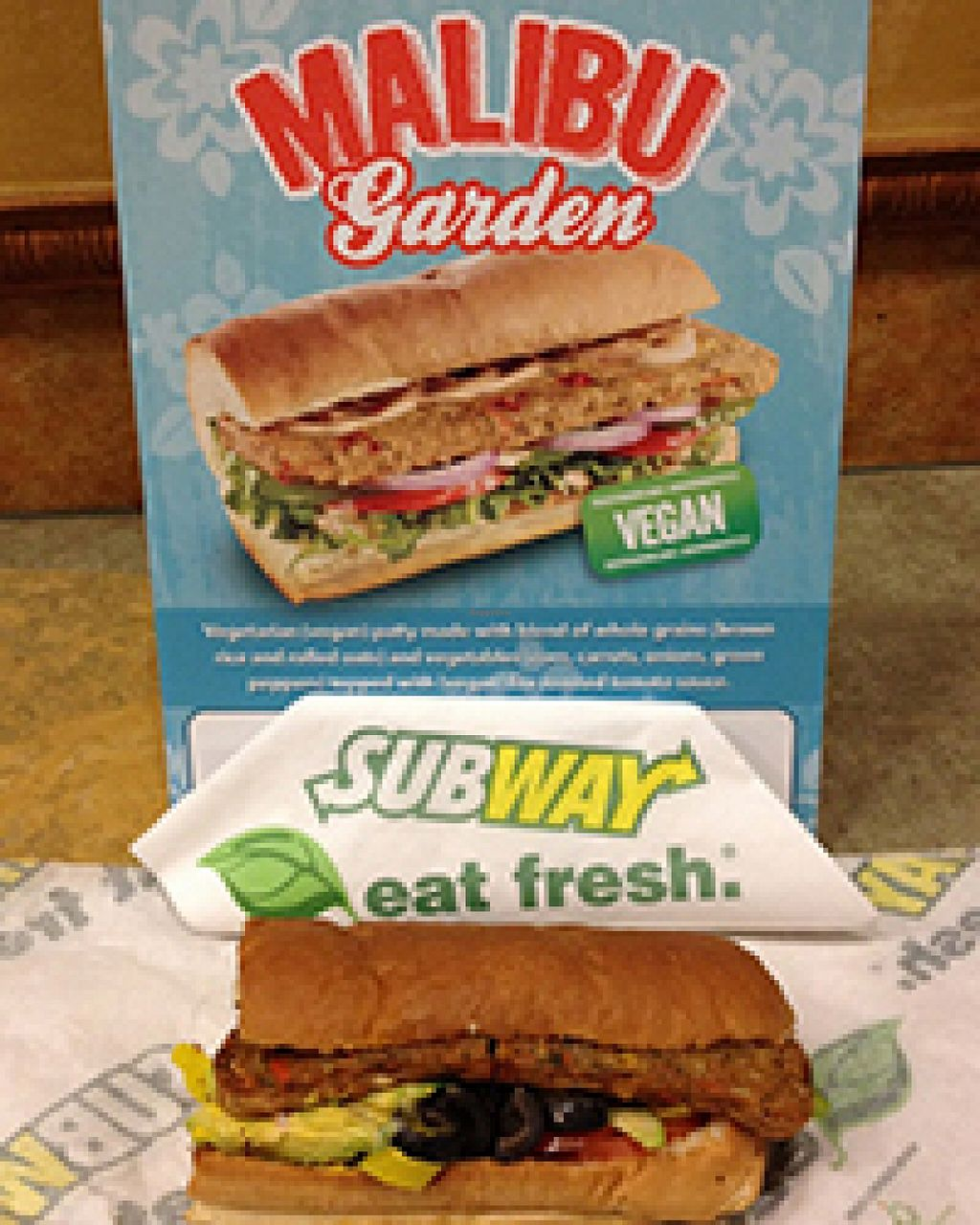 """Photo of Subway  by <a href=""""/members/profile/Veggi%2ALover"""">Veggi*Lover</a> <br/>The hearty and healthy Malibu Garden patty is chock full of whole grains such as brown rice and rolled oats, plus veggies,and comes topped with a creamy vegan fire roasted tomato sauce.and as always,you can customize your sub with additional veggies <br/> September 12, 2015  - <a href='/contact/abuse/image/63042/117437'>Report</a>"""