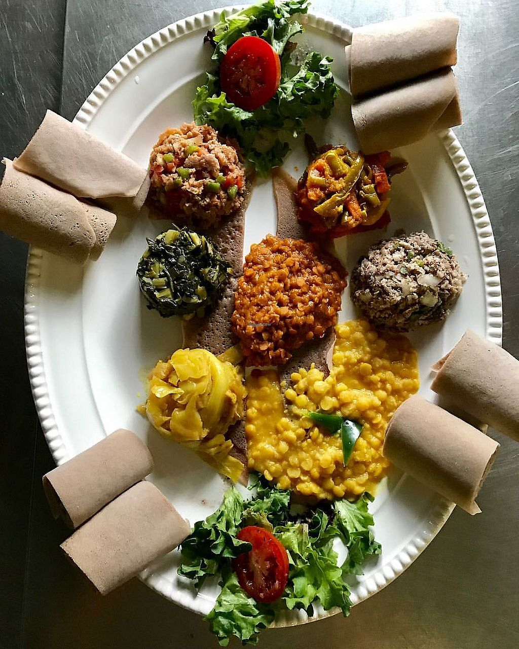 """Photo of Queen of Sheeba  by <a href=""""/members/profile/kmilitello"""">kmilitello</a> <br/>Vegetarian platter with 7 items  <br/> September 19, 2017  - <a href='/contact/abuse/image/63095/306064'>Report</a>"""