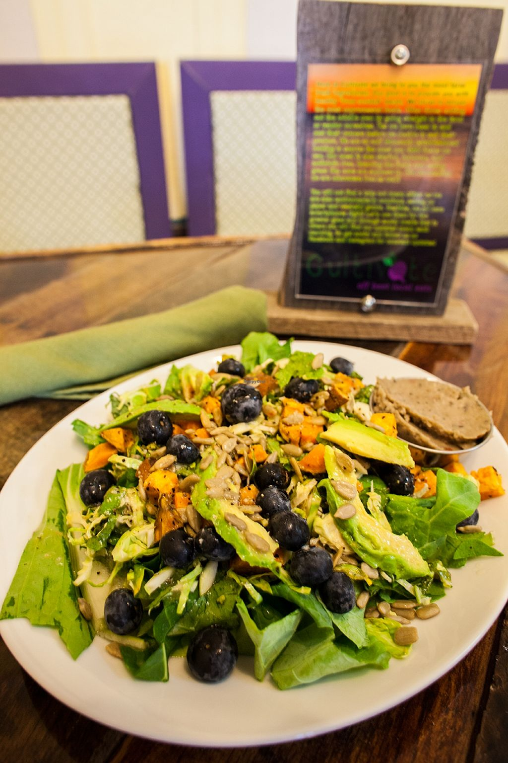 """Photo of CLOSED: Cultivate Cafe  by <a href=""""/members/profile/Cultivate_Cafe"""">Cultivate_Cafe</a> <br/>Notorious S.F.G. (Super Food Group) Salad-Greenmans Garden greens, avocado, seasonal fruit, kale and brussel sprout slaw, roasted sweet potatos, and a white bean spread. Served with grapefruit vinaigrette  <br/> September 8, 2015  - <a href='/contact/abuse/image/63111/116943'>Report</a>"""