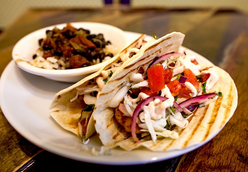"""Photo of CLOSED: Cultivate Cafe  by <a href=""""/members/profile/Cultivate_Cafe"""">Cultivate_Cafe</a> <br/>Shrimp Tacos-Local Royal Reds, cilantro lime slaw, pico, and spicy sour scream <br/> September 8, 2015  - <a href='/contact/abuse/image/63111/116944'>Report</a>"""